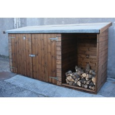 Combination Log & Tool/Bike Stores Pent Sheds